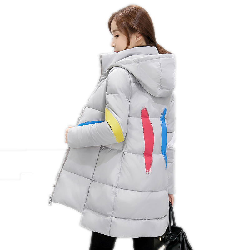 Women Winter Fashion Slim Hooded Coat  Warm Female Parkas Long Overcoat Thick Cotton Coat 2017 New Winter Plus Size Coats YP0381