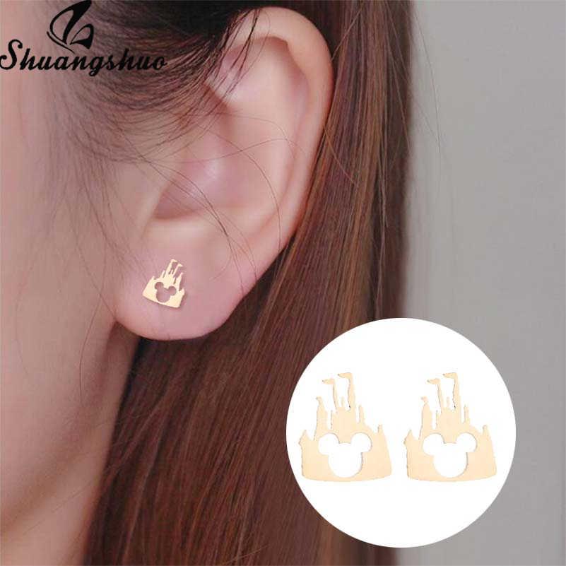 Shuangshuo สแตนเลส Mickey ต่างหู Mouse Stud ต่างหูผู้หญิงผู้หญิงเด็กผู้หญิงต่างหูมินิการ์ตูนสัตว์หู pendientes