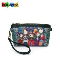 Women Wallets Clutch Bag New Fashion Embroidery Contrast Wrist Strap Elegant Mobile Phone Bag Purse Carteira