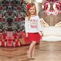 2017 Christmas Baby Girls Clothing Set Kids Letter Print Shirt Red Skirt Toddler Cotton Long Sleeve