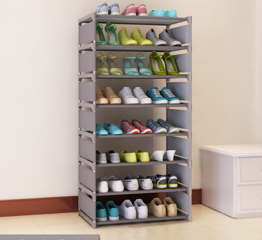 FREE shipping 7 Tier  Non-woven Shoe Cabinets shelves simple living room home decorations debris storage 1208s simple iron shoe rack multilayer living room removable storage finishing metal shelves