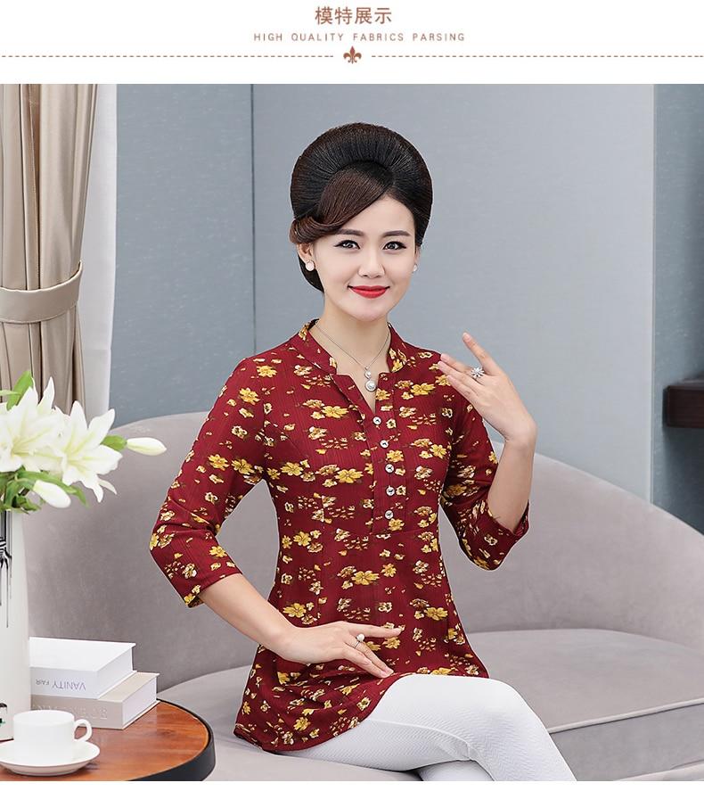 Women Flower Chiffon Blouses Three Quarter Sleeve Crepe Top Woman Peplum Tunic Red Green Print Shirt Plus Size Blouse Lady Shirt Spring (4)