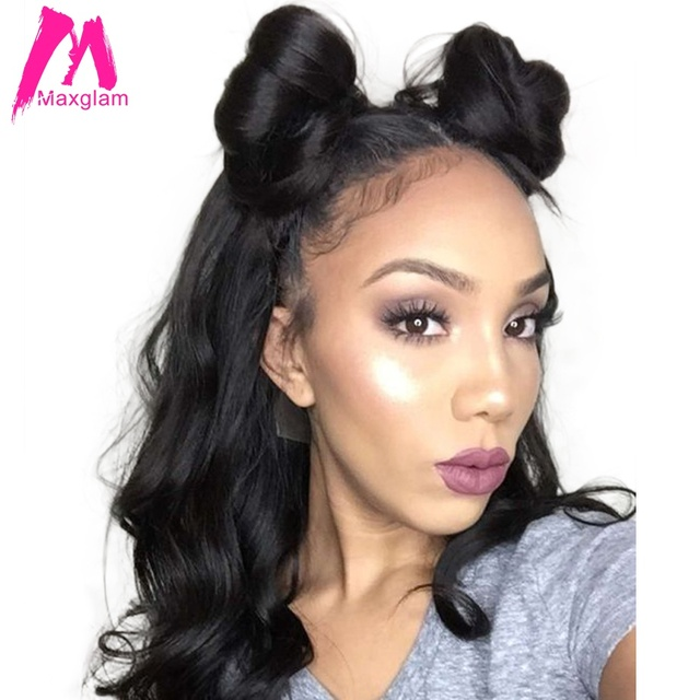 Maxglam Full Lace Human Hair Wigs With Baby For Afro American Body Wave Brazilian Remy