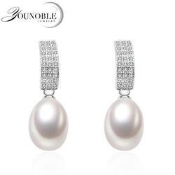 Новый тонкий класс аааа пресноводный жемчуг серьги для женщин Шарм Свадебная вечеринка jewelry серьги-гвоздики для девочек день рождения best