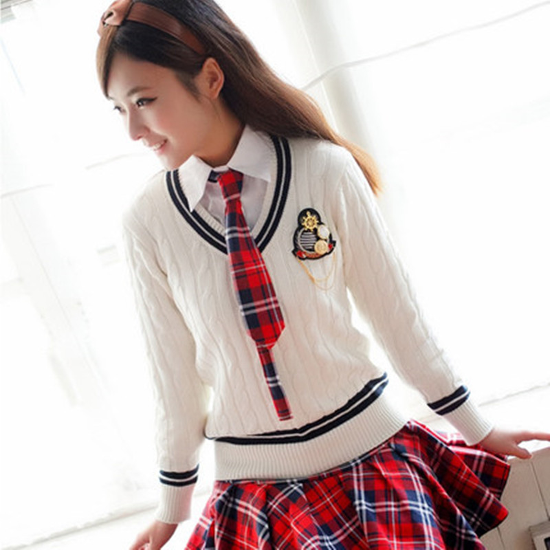 Navy Blue,White,Grey,Pink 100% cotton Womn Sweaters school uniform sweater for girls V neck Korea preppy style fashion pullovers