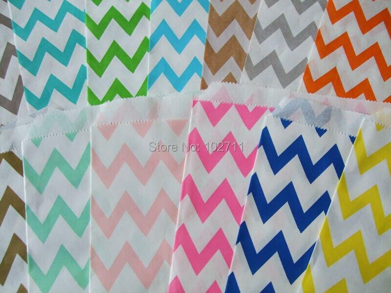 500packs 6000pcs zig zag party Favor Bags Chevron Stripe Spot Paper Treat Bags Bakery Bags