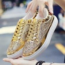 Весенние мужские повседневные кроссовки дизайн блестки с заклепками блестящая дизайнерская Обувь На Шнуровке Для Мужчин