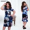 2017 sakazy 6xl tamanho grande verão dress mulher de manga curta casuais vestidos florais impressão mm de gordura plus size mulheres roupas 5xl dress