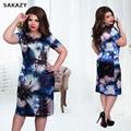 2017 sakazy tamaño grande 6xl summer dress mujer de manga corta informal vestidos estampados florales de mm de grasa más tamaño ropa 5xl dress