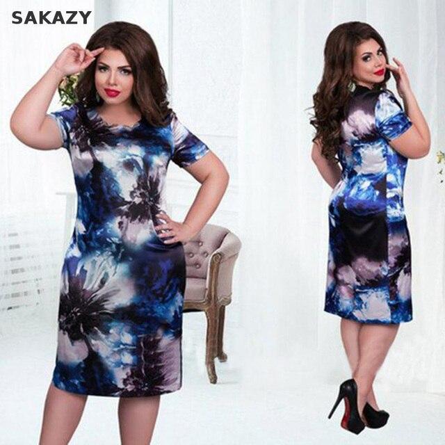 Sakazy 4XL-6xl цветочным Принтом Dress Летом Женщина Смещения С Коротким Рукавом Dress Жира Мм Плюс Размер Женщин Одежда 5xl Большой Размер Dress
