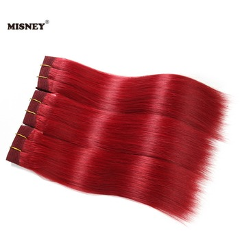 Brazilian Non Remy Human Hair Extension 3 Bundle Red Color 100% Human Hair Yaki Straight