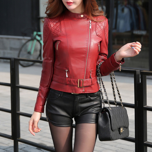 Fashion women's leather clothing new 2016 spring girls leather jacket women jackets and coats for women leather coat female