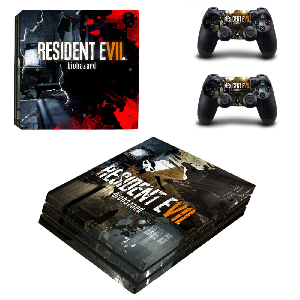 PS4 Pro Full Skin Sticker Faceplates for Sony Playstation 4 Pro Console Skin and 2Pcs Resident Evil Decal Sticker of Controllers
