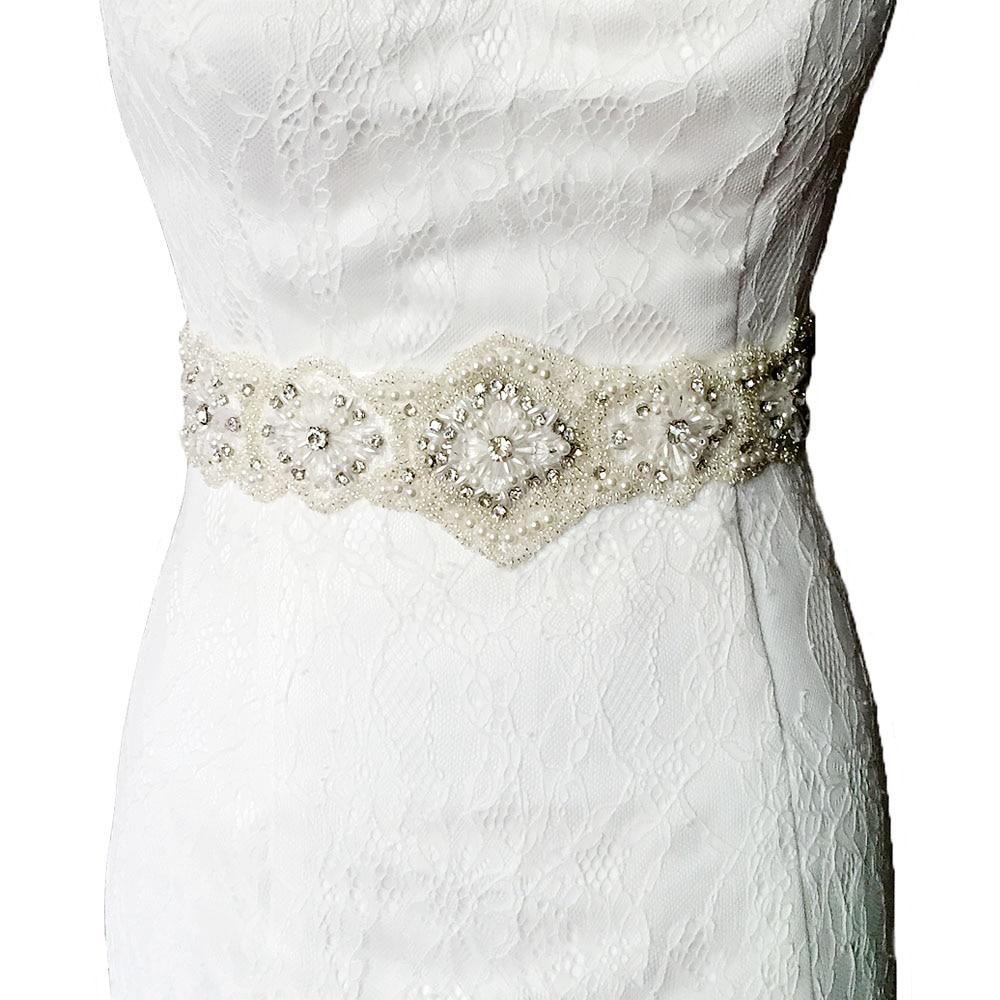 Handmade crystal bridal belt rhinestone pearl luxury wedding dress - Topqueen S220 Amazing Free Shipping Pure Handmade Wedding Belts Rhinestone Pearls Beaded Bridal Belts Wedding Bridal