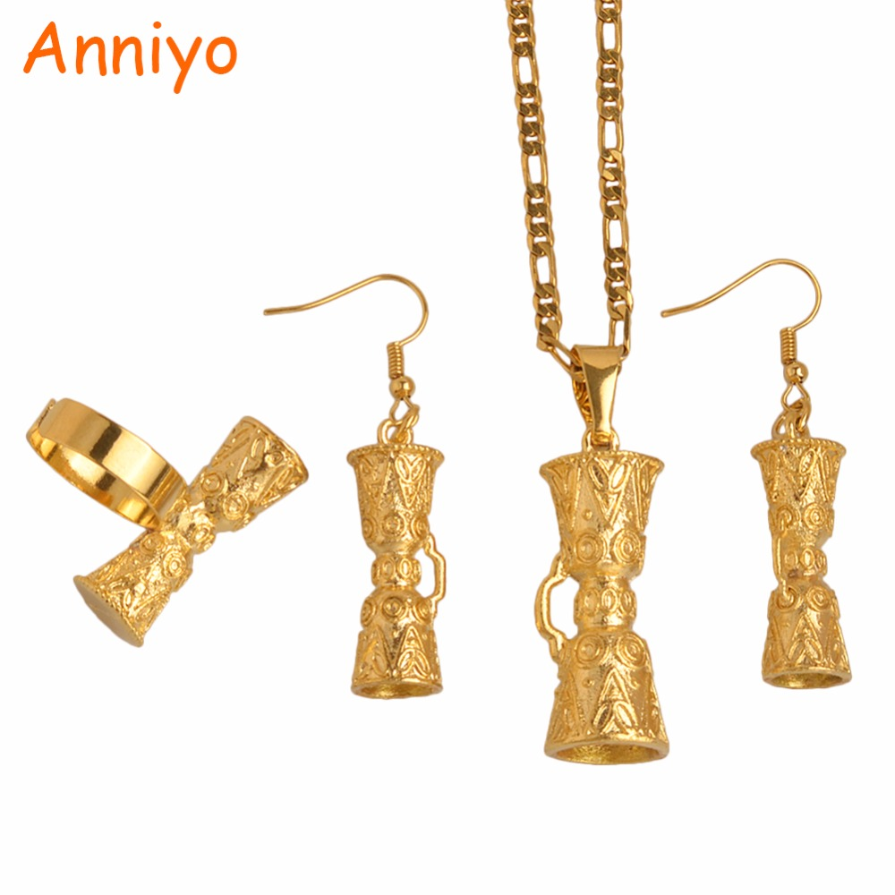 Anniyo (TWO SIZE) Papua New Guinea Drum Pendant & Necklaces/Earrings/Resizable Ring,PNG Style Kundu Jewelry sets #096306