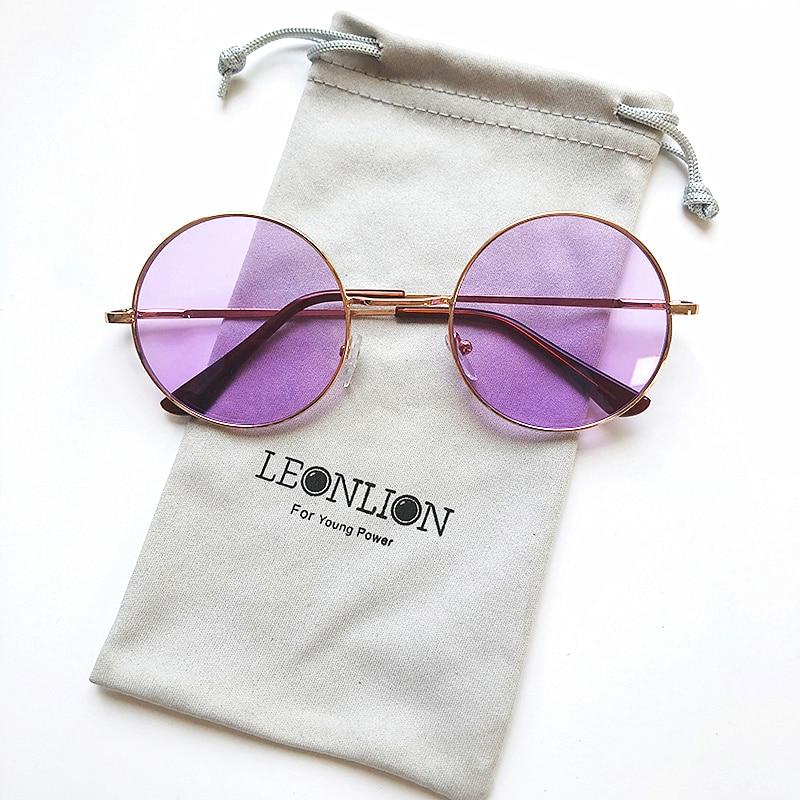 LeonLion 2019 Candy Color Round Sunglasses Women Fashion Sun Glasses Women Mirror Classic Vintage UV400 Oculos De Sol Gafas