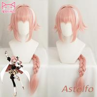 AniHut Astolfo Wig Pink Fate Apocrypha Cosplay Wig Synthetic Heat Resistant Hair Anime Fate Apocrypha Cosplay Hair Women Wigs