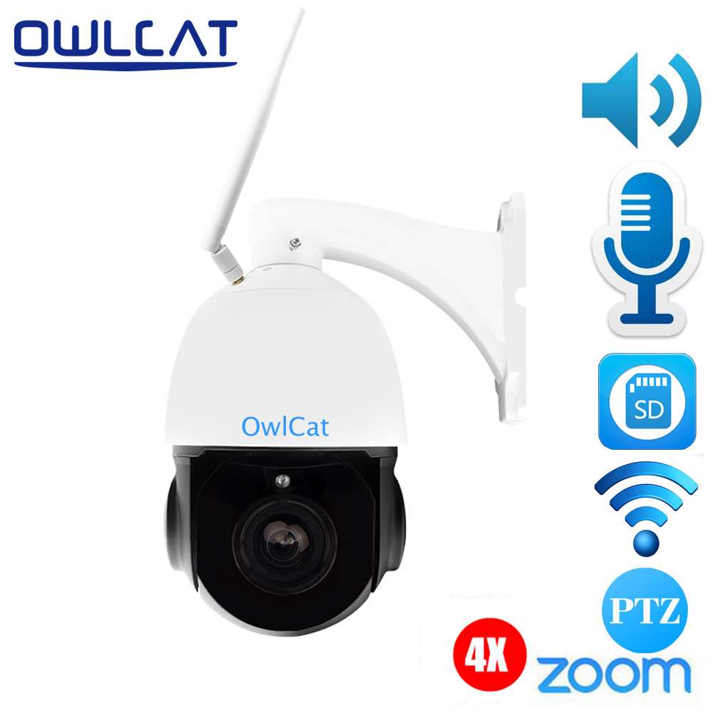 OwlCat Wireless PTZ Dome IP Camera Wifi Outdoor 1080P HD 4X Zoom Two way audio CCTV Security Video Network Surveillance Camera security cctv 1080p audio wireless wifi ip camera 20x zoom auto tracking ptz ip camera ir wireless outdoor cpe ap