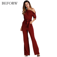 BEFORW 2018 Summer Sexy Strapless Pleated Waist Pocket Rompers Womens Jumpsuit Loose Cross Overalls Long Sleeve