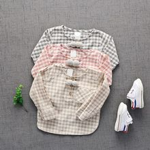 2017 Spring Casual Baby Girls Boys Infants Long Sleeve O Neck Cotton Plaid Girls Tops Sweatshirts T-shirts