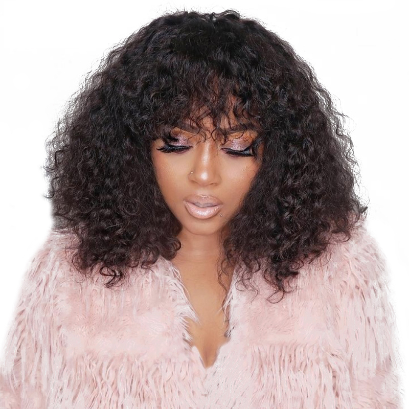 13x6 Curly Lace Front Wig With Bangs 150 Density Short Bob Human Hair Wigs For Women