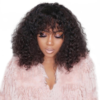 13x6 Curly Lace Front Wig With Bangs 150 Density Short Bob Human Hair Wigs For Women Black Brazilian Lace Wig Pre Plucked Remy