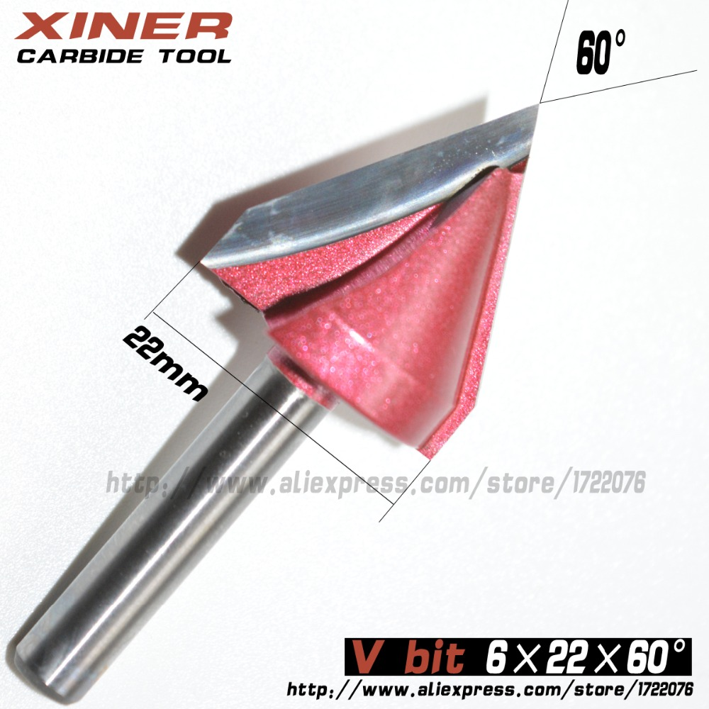 6mm*22mm*60degree,Freeshipping,CNC Solid Carbide Milling Cutter,3D V bit,woodworking tool,MDF,PVC,acrylic,Chamfering cutter 1 2 1 5 8 2pcs cnc machine solid carbide milling cutter round bottom bit woodworking router bit mdf pvc acrylic wood tool