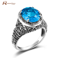 Tibetan Ring Round Cut Blue Austrian Crystal Vintage Style Skull Ring Inlay 925 Sterling Silver Wedding Rings Set For Women