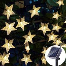 LED ozdobne lampki solarne 6m 50 diody LED Solar ciąg gwiazd bajkowe oświetlenie ogrodowa dekorację na imprezę świąteczną lampy słoneczne
