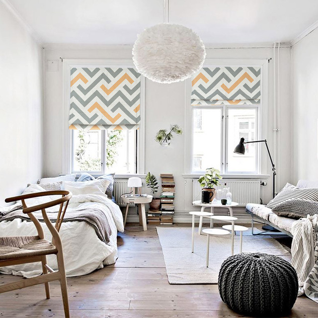 moderne minimaliste scandinave g om trique treillis ascenseur rideau romain salon chambre baie. Black Bedroom Furniture Sets. Home Design Ideas