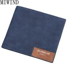 Wallet New Fashion Men Wallets Brand Canvas Leather Wallet Men Card Holder Short Casual Design Wallet Purse TLR072