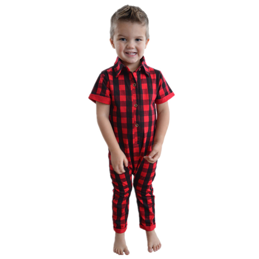 Seartist Baby Boys Girls Christmas Clothes Pajamas Newborn Red Plaid Romper Toddler Rolled sleeve Harem Jumpsuit 2019 New 25 in Rompers from Mother Kids