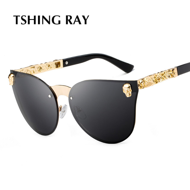 ff485543ec TSHING 2017 New Fashion Unique Skull Women Cat Eye Sunglasses Men Vintage  Oversized Rimless Mirror Cateye