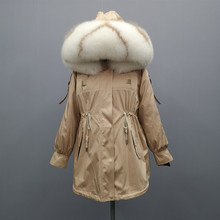 S-XL Winter Parkas Woman Rex Rabbit Fur Coat Large Fox Collar Hooded Detachable Lining Thick Warm Jacket 2019 New Fashion