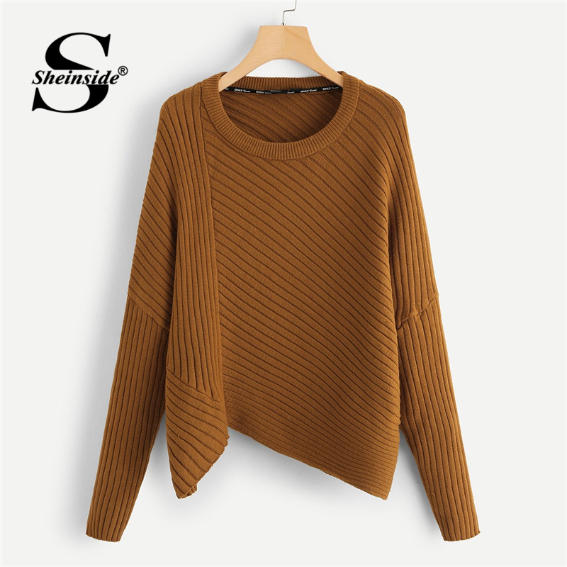 Us 2098 40 Offsheinside Brown Rib Knit Asymmetrical Hem Sweater Women Long Sleeve Pullover Ladies Jumper Clothes 2018 Autumn Womens Sweaters In
