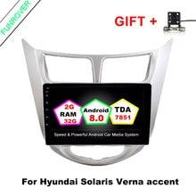 Funrover 9 »2 г + 32 г 2 Din Android 8,0 4 ядра dvd-плеер автомобиля для hyundai Solaris Verna магнитола видео Gps Navi Wi-Fi