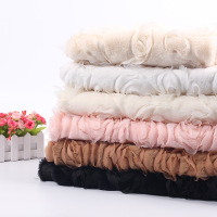 New Arrival Faux Fur With Flower Emboridery DIY Fabric For Garment Cushion Blanket