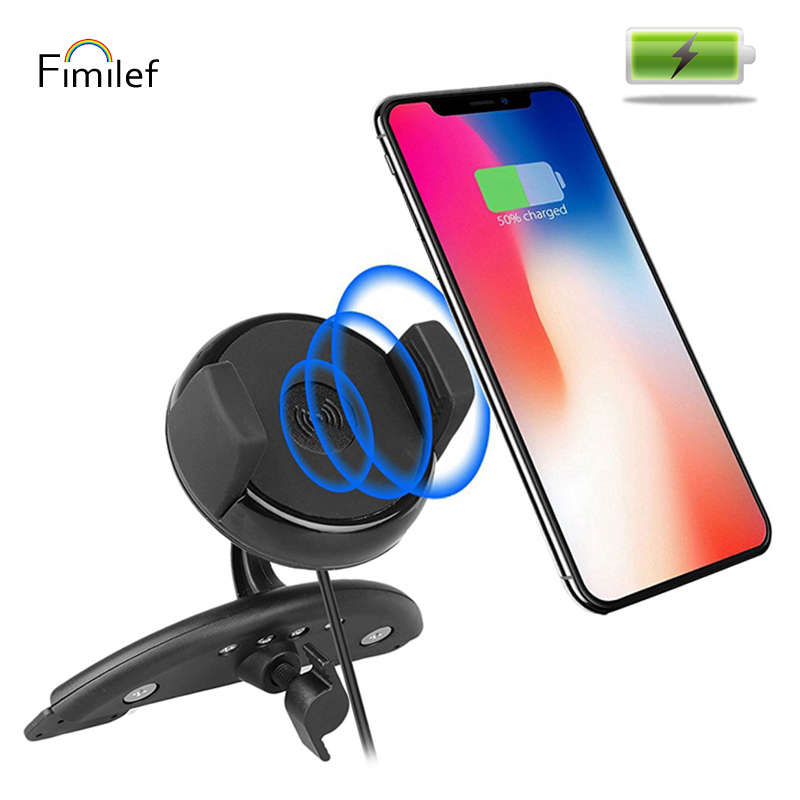 Fimilef Multifunctional Car Holder Qi Wireless charger CD Slot Mount Holder Phone Wireless Charging for Samsung Galaxy S8 Plus держатель для смартфона с функцией беспроводной зарядки