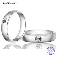 цена на Shipei 100% 925 Sterling Silver Fine Jewelry White Gold White Sapphire Round Engagement Ring for Women Anniversary Gift