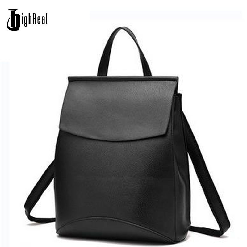 HIGHREAL New Leather Backpack Women High Quality Women Backpack Women Leather Backpacks for Teenage Girls Mochila