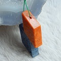 Sale Orange coral And wonder stone Intarsia Pendant Bead 43*25*8mm,9.0g.