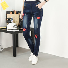 2017 Ladies Spring Summer New Pencil Denim Pant Women's Red Lips Washed Casual Oversize Jeans Feminina Plus Size XL-5XL L642