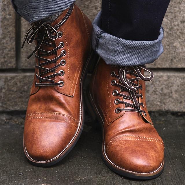 COSIDRAM Yüksek Kaliteli İngiliz Erkek Botları Sonbahar Kış Ayakkabı Erkekler Moda Dantel-up Çizmeler PU Deri Erkek Botas 2018 BRM-056