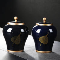 Jingdezhen Chinese tea can ceramics large household sealed caddy Pu'er black tea jar packing box food storage tank canister