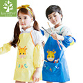 Cartoon korean Animal Giraffe Children Apron Set Kitchen Art Baking Painting Pinafore+Arm Sleeve Waterproof Kids Clothing Sets