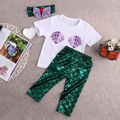 3 unids Bebé Niñas Shell Camiseta Top + Leggings Sirena + Banda para La Cabeza Trajes Ropa para Bebés de La Muchacha del verano traje de La Historieta ropa