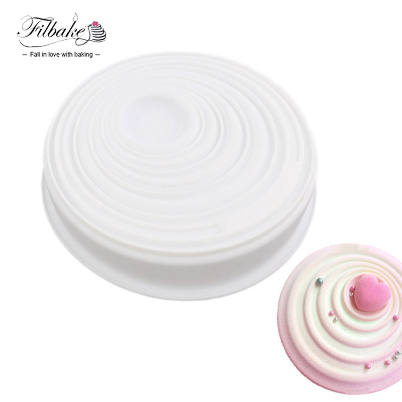 FILBAKE Vague Circular Corrugated Shaped Freezing and Baking Decorating Bakeware Cake Mold 3D DIY Silicone Muffin Pan
