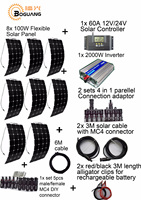BOGUANG off grid Solar System KITS 800W flexible solar panel 1pcs 60A controller 2KW inverter 2 sets 4 in1 MC4 adaptor cable