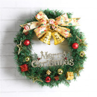 Merry Christmas Wreath Garland Window Door Decorations Bowknot Ornament Xmas Tree Hanging Holiday Decoration Happy New