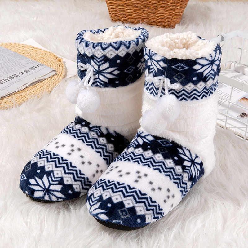 Suihyung Kadın Kapalı pamuklu ayakkabılar Kış sıcak Peluş Terlik Bayanlar Yumuşak Akın kaymaz Ev Kat Ayakkabı Karışık Renkler Kayma -On
